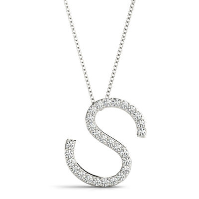 10ct S Initials Diamond Set Pendant