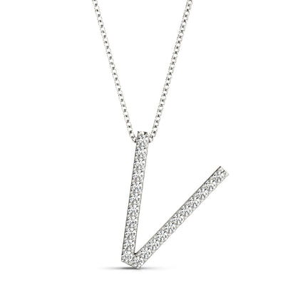 10ct V Initials Diamond Pendant