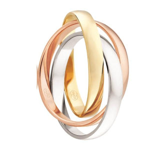 White, Rose & Yellow Gold Russian Wedding Ring (3061BB)