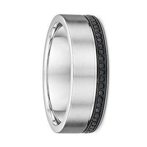 White Gold Mens Wedding Ring With Black Diamonds ( 577A11)