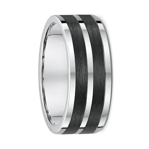 White Gold and Dual Carbon Fibre Striped Wedding Ring - 582B00G