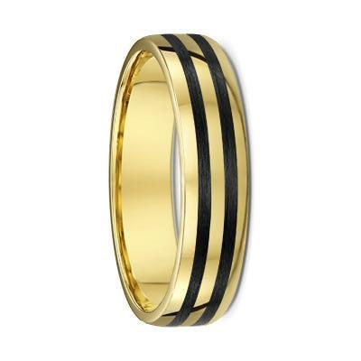 Rounded Yellow Gold and Dual Carbon Fibre Striped Wedding Ring - 583B00