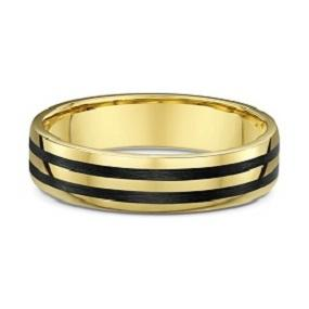 Yellow Gold and Dual Carbon Fibre Striped Wedding Ring - 583B00G