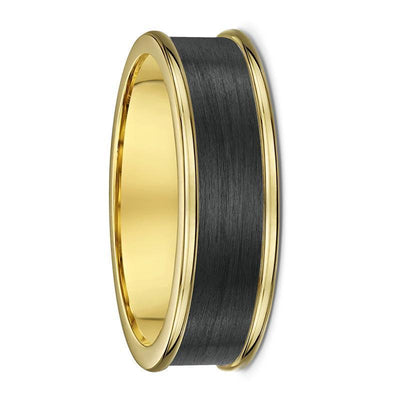 Yellow Gold and Carbon Fibre Wedding Ring - 585B00G