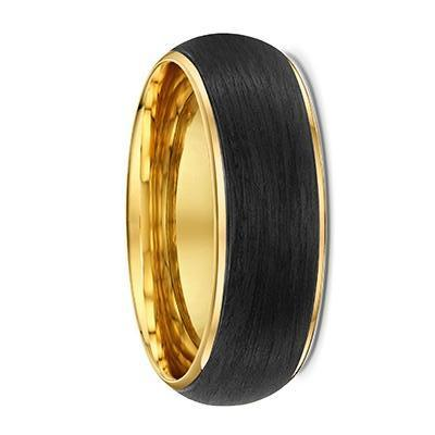 Yellow Gold and Carbon Fibre Round Wedding Ring - 586B00