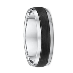 Rounded White Gold and Carbon Fibre Wedding Ring - 588B00G