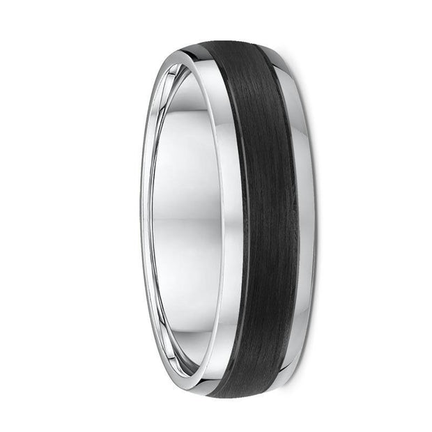 Rounded White Gold and Carbon Fibre Wedding Ring - 588B00
