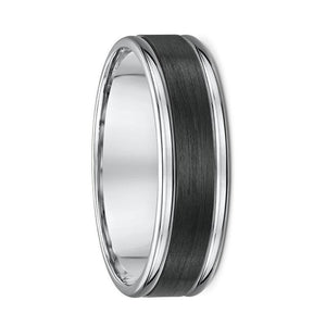 White Gold and Carbon Fibre Wedding Ring - 589B00G