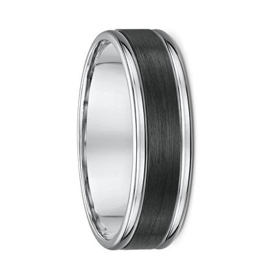 Grooved White Gold and Carbon Fibre Wedding Ring - 589B00G