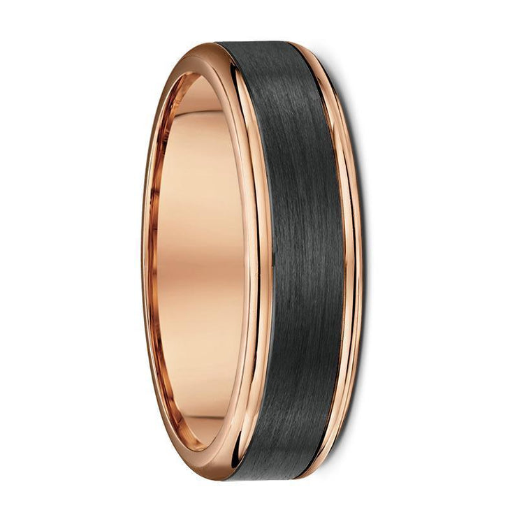 Rose Gold and Carbon Fibre Wedding Ring - 590B00