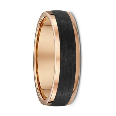 Rounded Rose Gold and Carbon Fibre Wedding Ring - 591B00