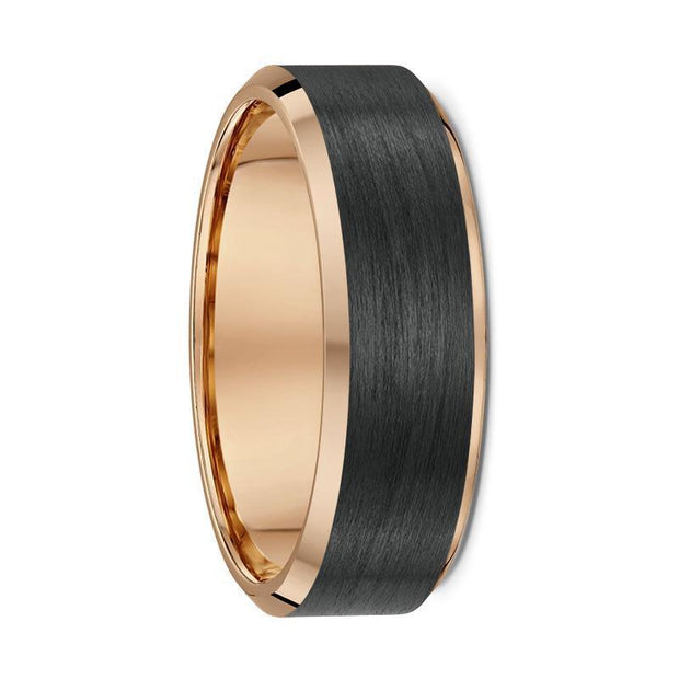 Bevelled Edge Rose Gold and Carbon Fibre Wedding Ring - 592B00