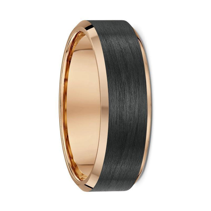 Rose Gold and Carbon Fibre Wedding Ring - 592B00