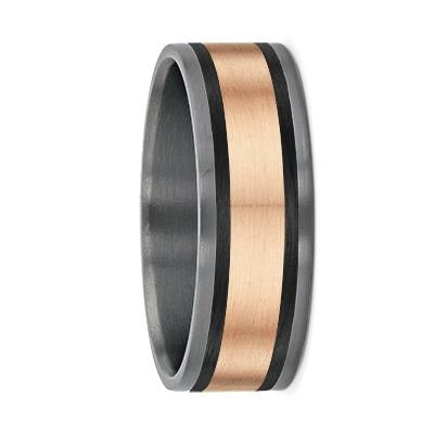 Tantalum with Carbon Fibre & Yellow Gold Stripes Pipecut Wedding Ring