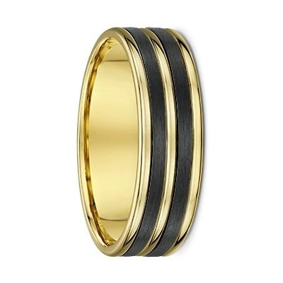 Yellow Gold and Double Grooved Carbon Fibre Wedding Ring - 596B00