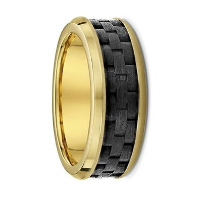 Bevelled Edge Yellow Gold and Weave Texture Carbon Fibre Wedding Ring - 597B00