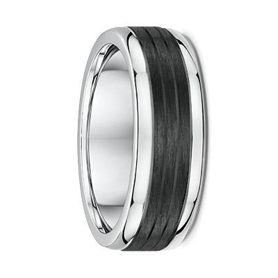 White Gold and Carbon Fibre Wedding Ring - 605B01