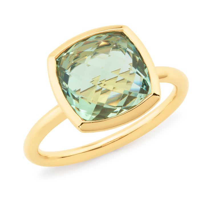 Green Amethyest Bezel Set Stone Women's Gemstone Ring