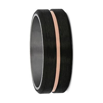Tantalum Inner Sleeve with Carbon Fibre & Rose Gold Groove Wedding Ring