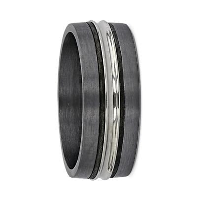 Tantalum with Carbon Fibre & White Gold Groove Wedding Ring