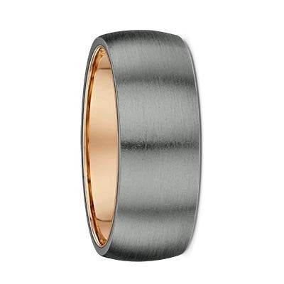 Tantalum and Rose Gold Round Inner Sleeve Wedding Ring