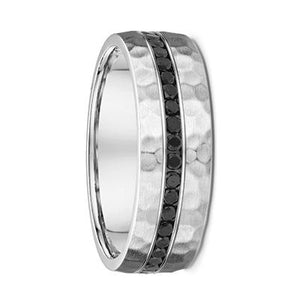White Gold Mens Wedding Ring With Black Diamonds (665B00