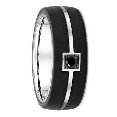 Black Diamond White Gold and Double Striped Carbon Fibre Wedding Ring - 666B01