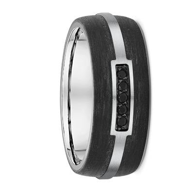 Black Diamonds White Gold and Carbon Fibre Wedding Ring - 669B00