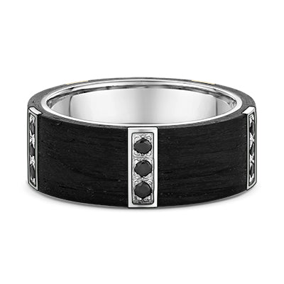 Black Diamonds Gold and Carbon Fibre Piepecut Wedding Ring - 670B00