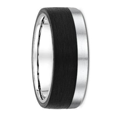 White Gold and Carbon Fibre Wedding Ring - 671B00