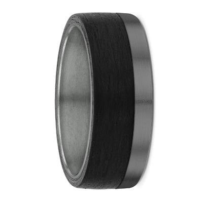 Tantalum and Off-Centre Carbon Fibre Wedding Ring