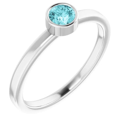 14 ct White 4 mm Round Blue Zircon Gemstone Ring