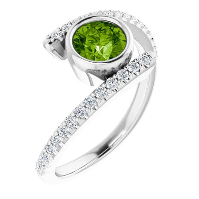 14 ct White Peridot & 1/4 CTW Diamond Gemstone Ring