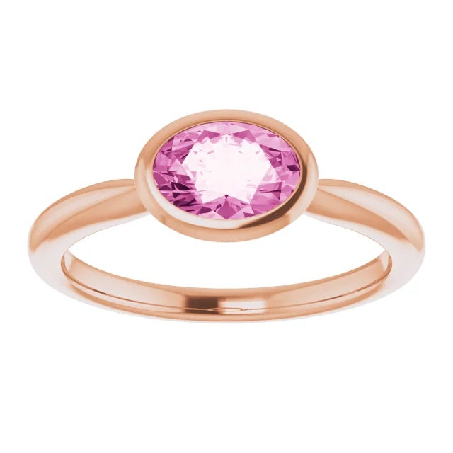 14 ct Rose Chatham® Created Pink Sapphire Gemstone Ring