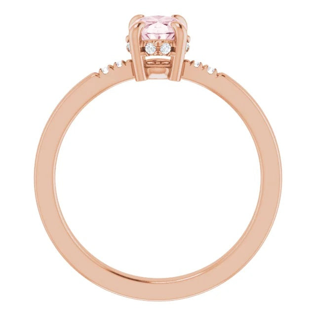 14ct Rose Morganite & .06 CTW Diamond French-Set Gemstone Ring