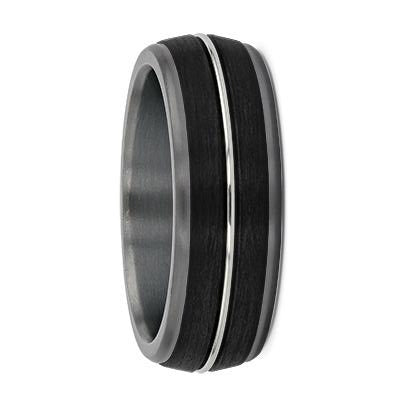 Rounded Tantalum with Carbon Fibre & White Gold Groove Wedding Ring