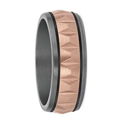 Tantalum with Carbon Fibre & Rose Gold Raised Accents Wedding Ring
