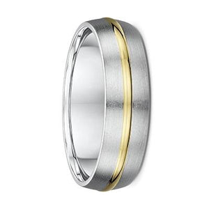 White Gold Men's Wedding Ring with Yellow Gold Striped Inlay (782A00)