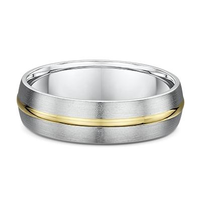 White Gold Men's Wedding Ring with Yellow Gold Striped Inlay
