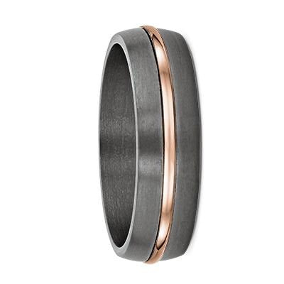 Tantalum and Single Grooved Gold Wedding Ring