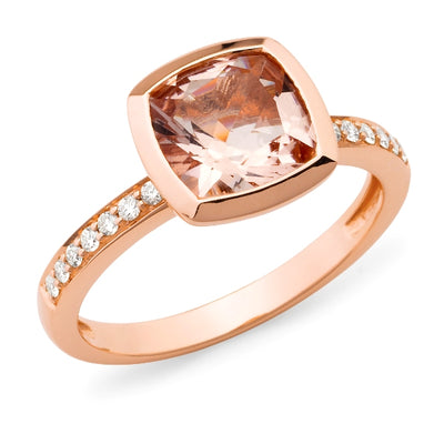 Morganite & Diamond Bezel/Bead Set Gemstone Ring