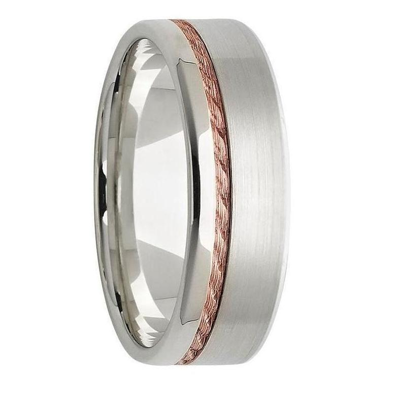 White And Rose Gold Twist Inlay Mens Wedding Ring Kavalri