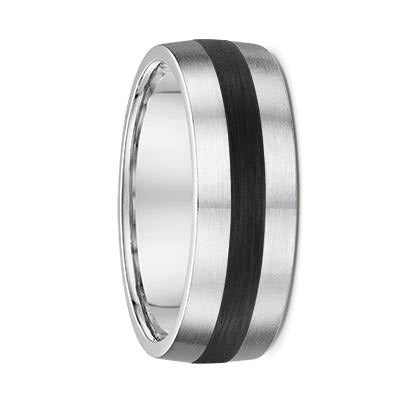 White Gold and Centre Striped Carbon Fibre Wedding Ring - 816A04