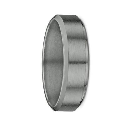 Flat Bevelled Edges Tantalum Wedding Ring
