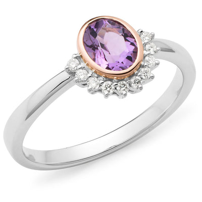 Pink Amethyst & Diamond Bezel/Claw Set Coloured Stone Women's Ring