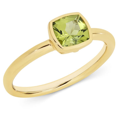 Peridot Bezel Set Coloured Stone Dress Women's Ring
