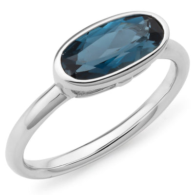 London Blue Topaz Bezel Set Coloured Stone Women's Dress Ring