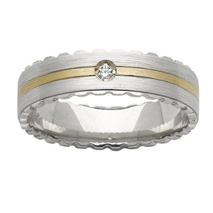 White & Yellow Gold Mens Wedding Ring With Round Diamond