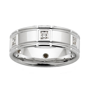 Dual Grooved White Gold Wedding Band with Diamond