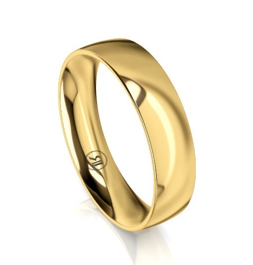 Quarter Curved Comfort Fit Wedding Ring (AC) - Yellow Gold